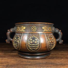 纯紫铜鎏真金浮雕香炉