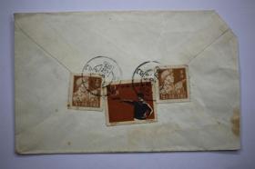 木刻图大扫除美术封 1960年上海寄日本9分资费印刷品实寄封