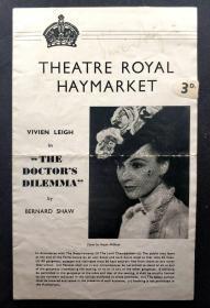 """""""英伦影后"""" 费雯丽 1942年签名萧伯纳戏剧《医生的困境》节目单原物 由三大签名鉴定公司之一Beckett(BAS)提供鉴定"""