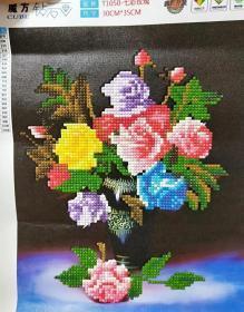 成品5D钻石画七彩玫瑰 客厅 卧室 酒店装饰画 魔方圆钻花卉 35×30cm