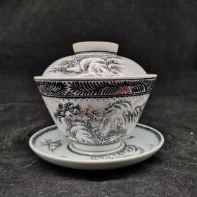 墨彩渔村瑞雪图大茶杯