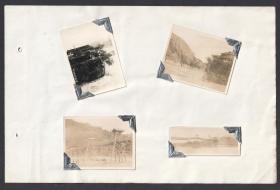 早期都江堰伏龙观及安澜索桥老照片4张合售