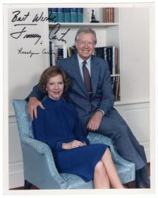 美国总统 诺贝尔和平奖得主 吉米卡特 Jimmy Carter及夫人亲笔签名