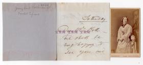 """""""瑞典夜莺"""" 19世纪伟大的歌唱家  安徒生的爱慕追求对象 珍妮·琳德 Jenny Lind 亲笔信及原版照 一组"""