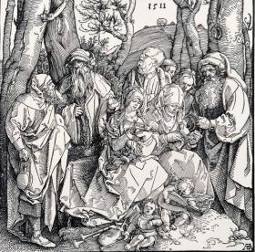 """""""巨幅丢勒名画""""1910年复刻版""""丢勒Albrecht Dürer""""系列木刻版画—《圣家庭》48x34cm 原尺寸复刻"""