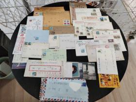 实寄封、信销票、明信片:台湾寄出的实寄封航空件  其中部分信封内有信笺 有邮戳 有邮票  其中两信封没有邮票  共84封合售   信封0116