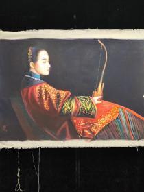 纯手工绘古代仕女油画