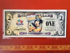 迪士尼纪念钞 |迪斯尼纪念钞 |生日快乐钞迪士尼纪念钞2009年1美元美金纸币钞票外国钱币米奇米(每张)