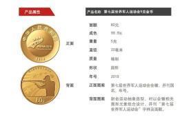 中国人民银行发行法定货币——《第七届世界军人运动会金银纪念币》内含1金4银,五枚金银纪念币,金总包装。