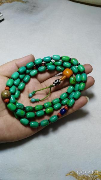 下乡收的老货【旧物换钱】藏传雅玩 天然绿松石 项链