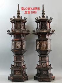 x牛角塔一对,纯手工雕刻,雕刻精美,纹理清晰,品相一流,保存完整wby运费自理