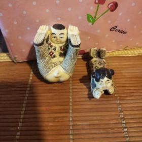 两个小朋友石膏摆件 两个合售