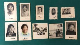 60年代美女老照片10枚,含手工上色,戴像章,女孩篮球合影,大辫子美女等