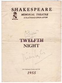 好莱坞女神 费雯丽与丈夫劳伦斯奥利弗1955年亲笔签名《第十二夜》宣传页
