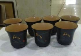 7-80年代,手绘兰花漆杯7个