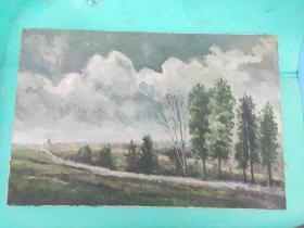 2020-1-9---油画布带框  纯手绘油画  一幅  有本人落款  敬请买家自鉴