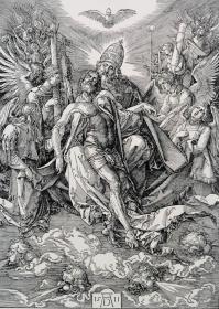 """""""巨幅丢勒名画""""1910年复刻版""""丢勒Albrecht Dürer""""系列木刻版画—《圣三位一体》48x34cm 原尺寸复刻"""