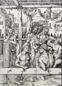 """""""巨幅丢勒名画""""1910年复刻版""""丢勒Albrecht Dürer""""系列木刻版画—《浴室外间悠闲的人们》48x34cm 原尺寸复刻"""