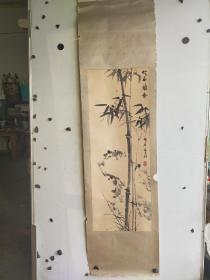 扬州籍 山东著名画家  李波  《竹石兰香》立轴 原装裱脱落 画心尺寸92x34