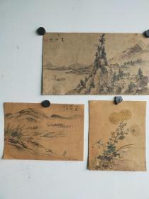 民国时期老画3幅, 作者不识  每幅很小 分别是:菊花16x13,山水19x13,25x14