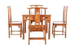 花梨木圆包圆四方桌 五件套