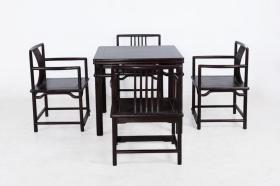 紫檀木休闲桌+四梳背椅