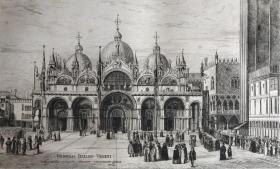 19世纪晚期蚀刻铜版画 《威尼斯的圣马可广场》—文艺复兴时期威尼斯学派画家贞提尔·贝利尼(Gentile Bellini,1429 - 1507年)作品 37.7*28.3厘米