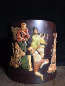 小叶紫檀木镶多宝[八仙过海]笔筒,满金星牛毛纹清晰,高23厘米,宽23.5厘米,重4660克,特价4200
