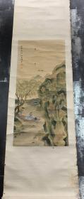 清、民国绢本设色【幼菊(款)】山水人物立轴一件  原装老裱   包老【镜芯:76×34㎝】