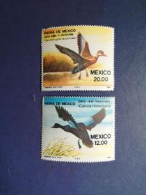 外国邮票  墨西哥邮票邮票 1984年 野鸭 2枚(无邮戳新票)