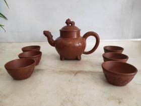 名人徐汉棠紫砂壶一套,造型独特,包浆浓厚,完整漂亮