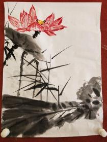 名人字画,墨荷图