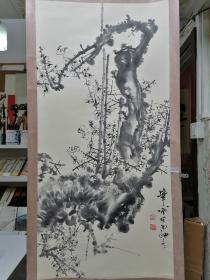 安徽著名花鸟画家张顺仁水墨梅花,98X47,
