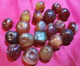 旧玛瑙制品 抛光天然玛瑙玉石不规则大珠子 胸颈手饰配套 旧货物件保真品旧物