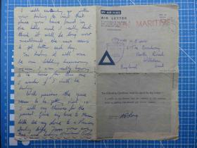 """""""二战""""1944年4月28日英国航空(军事免邮)实寄邮简、销""""海关审查员通过""""戳(58)"""