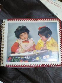 老照片74张+完整老相册一本,其中一张小女孩戴主席像章8*8.5cm