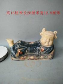 唐三彩美女瓷枕