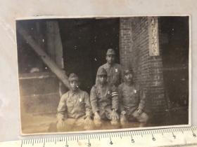 侵华日军原版老照片:黄埔宪兵分遣队四个日本鬼子合影