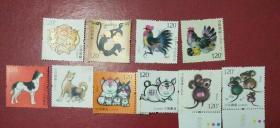 四轮猴鸡狗猪鼠生肖五套邮票,均带萤光码