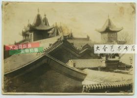 民国天津西站前的大丰路东侧天津穆斯林清真大寺,清真寺建筑老照片,泛银