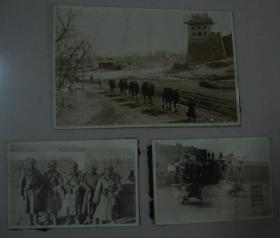 原版老照片 3枚 城墙角楼驼队、杂耍、侵华日军合照