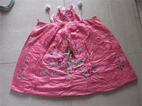 民国老刺绣伶俐活泼牡丹花鸟图儿童斗篷包老服装布艺收藏民风民俗
