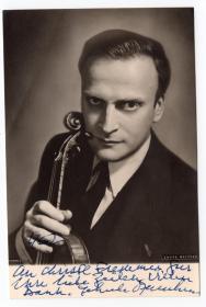 著名小提琴大师 耶胡迪·梅纽因 Yehudi Menuhin 1962年亲笔签名照 精品
