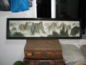 1精美手绘风景老油画--- 长 137厘米*宽37厘米(含框)