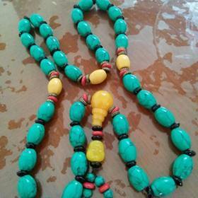 大粒绿松石,项链,黄玉隔珠,弥勒佛坠