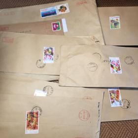 信封上有邮票、邮戳信销票动画大闹天宫T字头、荡秋千(8封合售)