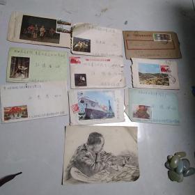 老实寄封,年代1966至1976,其中有一张是同年代的小素描画。保真包老售出不退。素描画衣镜塑封好了。