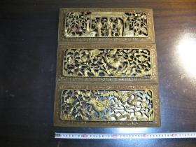 民国楠木描金人物麒麟木雕3个