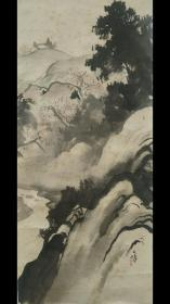 佐野石峰1857~?名景,字士绍,号竹山、桃里、五峰。会津人。从师川村雨谷、吉越梯云等。长于南宗画,尤工于山水。《春景图》纸本单片,保老到清末,保手绘真迹作品,品相如图局部有斑点。尺寸:72 x 30.5 cm。