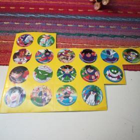 怀旧不干胶贴纸(七龙珠,星矢,街头霸王,篮球飞人等,未使用)合售